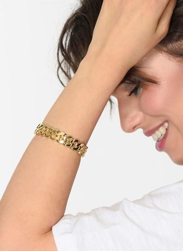 Loves You Örgü Zincir Kelepçe Bileklik Altın